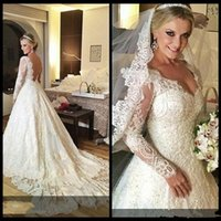 Wholesale Dres Beads Sequins - Customized Long Sleeve Lace Vintage Wedding Dresses Appliques Beading Backless Beads Patterns Cinderella Bridal Gowns Plus Size Wedding Dres