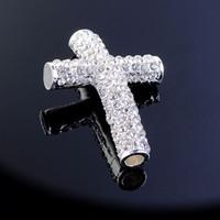 armband kreuz perlen stecker großhandel-Verkauf 10 Stück 28MMX40MM Silber CZ Crystal gebogen seitlich Kreuz Connector Charm Armband Erkenntnisse Spacer Perlen versandkostenfrei