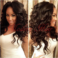 Wholesale Glueless Full Lace Wig Synthetic - Top quality swiss lace freetress synthetic body loose wave lace front wig &full lace wig glueless black natural looking wig for black woman