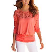üç çeyrek kollu dantel tops toptan satış-Toptan-Kadın Şifon Gömlek Dantel Dikiş Gevşek T-shirt Katı Renk Üç Çeyrek Kollu Kadın Tee LJ7253E Tops