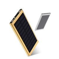 Wholesale Battery Android Phone - Ultra thin Solar Power Bank 20000mAh External Battery Portable Universal Cell Phone PowerBank Chargers For iphone IPAD Android Smartphone