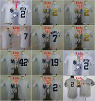 Wholesale Boys Baseball Jersey Black - 2017 Kids Stitched New York Yankees #2 Derek Jeter 7 Mantle 19 Tanaka 22 Ellsbury 42 Rivera white Gray MLB Youth Baseball Jerseys