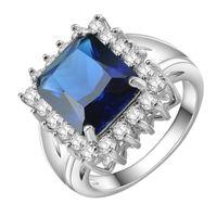 Wholesale Wedding Jewelry Sets Royal Blue - KIVN Fashion Jewelry Luxury Royal Blue CZ Cubic Zirconia Women Girls Bridal Wedding Engagement Rings Christmas Birthday Gifts