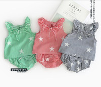 Wholesale Two Cute Babies - INS 2017 European and American Style new arrival baby Sleeveless cute cute star pattern baby round collar vest+cute shorts two sets