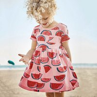 Wholesale Pockets Styles Summer Dresses - 2017 Summer New Girl Dress Watermelon Print Pocket Cotton Casual Dress Children Clothing 1-6Y S0151