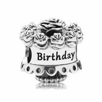 Wholesale Happy Birthday Bracelet - Authentic 925 Sterling Silver Bead Charm Happy Birthday Rose Cake Beads Fit Pandora Bracelet Bangle DIY Jewelry