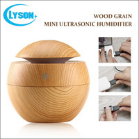 Wholesale Desktop Ultrasonic - New design portable desktop wood grain mini USB aroma diffuser Wood Grain Ultrasonic Air Humidifier for gifts