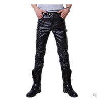 black fur material - Hip Hop Mens Black Leather Pants Faux Leather Pu Material Black Color Motorcycle Skinny Faux Leather Pants