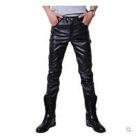 Wholesale Motorcycle Leather Pant - Wholesale- 2015 Hip Hop Mens Black Leather Pants Faux Leather Pu Material Black Color Motorcycle Skinny Faux Leather Pants