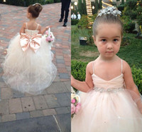 Wholesale Embellished Pageant Gowns - 2017 Latest Lovely Flower Girls Dresses from Eiffelbride with Shining Beaded Crystal Sash and Embellished Bow Back Pageant Gowns for Girls