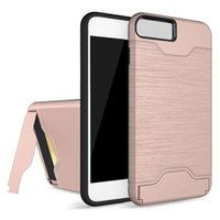 Wholesale Pouch Hard Shell Case - Card Slot Case For i7 S8 Armor case hard shell back cover with kickstand case for i6 6 plus 7 plus s8 plus