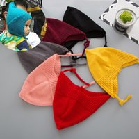 Wholesale Korean Cute Winter Hats - Baby cute knit Beanies with String Elf Ears warm and windproof Crochet Woolen hat 1-6YEARS 2017 Korean style