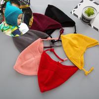 ingrosso cappello beanie stile coreano-Berretti in maglia per bebè con orsetto elastico caldo e antivento Berretto in lana crochet lavorato a maglia 1-6 ANNI 2017 stile coreano