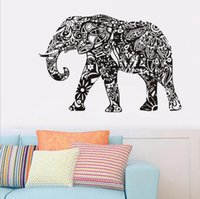 Wholesale decal elephant - Elephant Wall Stickers Removable Black PVC Wall Decal Home Decor Living Room Wall Art Stickers OOA1765