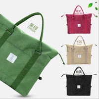 Wholesale Nylon Folding Tote - Korean Women Female Shoulder Bag Fashion Nylon Baggage Bag Folding Handbag Package Trave Bag 20 PCS LJJY200