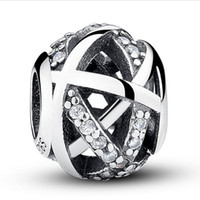 Wholesale Real Luck - Real 100% 925 Sterling Silver Hollow Clear Rhinestone Galactic Luck Charm Bead Fit European Bracelet Authentic Luxury DIY Jewelry Gift