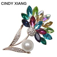 Wholesale Wedding Coats For Women - CINDY XIANG Multi-color Crystal And Pearl Flower Brooches For Women Lovely Coat Dress Corsage Backpack Badges High Quality Gift