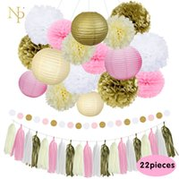 Wholesale Nicro Mixed Gold Pink Ivory White Party Lantern Flower Tassel hanging DIY Baptism Birthday Wedding Party Decorations