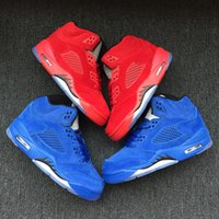 Wholesale Baby Poly - With box New wholesale 5 blue suede RED Children Basketball Shoes baby V 5s Sneakers kids Sports Running girl trainers 11C-3Y 28-35