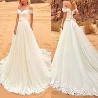 Wholesale Sleeves For Wedding Dresses - Plus Size 2017 Country Bow Boho Wedding Dresses A Line Off Shoulder Cap Sleeve Sweep Train Lace Appliqued Wedding Gowns For Beach Garden