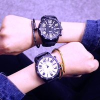 Wholesale W Jelly Watch - 2017 Harajuku Fashion Candy Color Jelly Large Dial Watches Anlog Watches QF Personality Male and Female Couple Three-Dimensional Character W