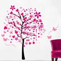 duvar ağacı kelebek toptan satış-Duvar Çıkartmaları Için Kalp Çiçek Ağacı Kelebek Çıkartmaları Çocuk Odası Kreş Su Geçirmez Yaratıcı Çıkarılabilir PVC Sanat Ev Dekorasyonu 7lk J R