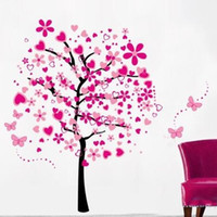 Wholesale Trees Flowers Wall Art - Wall Stickers Heart Flower Tree Butterfly Decals For Kid Room Nursery Water Proof Creative Removable PVC Art Home Decor 7lk J R