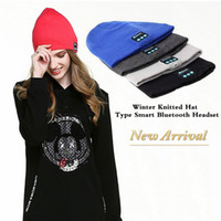 Wholesale Winter Headphone Wholesale - New Fashion Beanie Hat Cap Wireless Bluetooth Earphone Smart Headset headphone Speaker Mic Winter Outdoor Sport Stereo Music Man Woman Hat