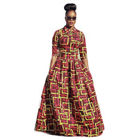 Wholesale Spandex Two Piece Dress - African Dresses for Women 2017 New Two Pieces Africa Dashiki Long Dresses Big Hem Half Sleeved Woven African Dresses for Women