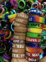 Wholesale Logo Printing China - 500pcs free customized logo printing e cigarette mod accessories silicone vape band ring from China supplier