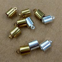 Fin Caoutchouc Cuir Pas Cher-100pcs / lot Size 6mm Hole Original Brass / Bronze / Silver Plated Corpe End Caps Vintage Crimp Beads Covers Leather Clasps