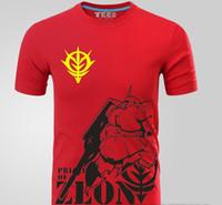 Wholesale Anime Gundam - Anime Gundam Zaku Logo Print T-shirts Men's Casual Short Sleeve 100% Cotton T shirt Tees Tops High Quality