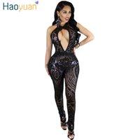 Wholesale Halter Mesh Jumpsuit - Wholesale- HAOYUAN Sequin Sexy Jumpsuit Club Hollow Out Summer Sleeveless Halter Backless Black Red Mesh Overalls Rompers Womens Jumpsuit