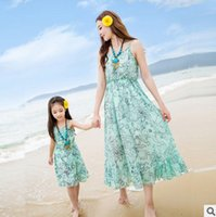 Wholesale Dresses Bohemia Style Chiffon - Mother and dauther dress girls floral printed dress womens suspender long dress bohemia style family chiffon beach long dresses T3484