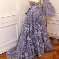 Wholesale Lavander Dresses - Lavander Prom Dresses Sweetheart Neckline Lace Appliques Hand Made Flowers A Line Long Floor Length Evening Dresses