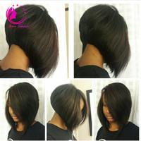 Wholesale New Glueless Full Lace Wig - 2017 New Short Bob Cut Wigs Brazilian Virgin Human Hair Full Lace Wigs Unprocessed Glueless Full Lace Wigs For Black Women Free Shipping