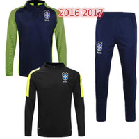 Wholesale Long Black Pant Tights - top quality jersey-Brazil training suits Uniforms shirts Chandal NEYMAR JR tracksuits Survetement long sleeve tight pants With zipper