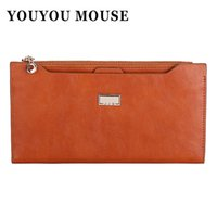 Vente en gros- YOUYOU MOUSE Leather Women Wallet 5 couleurs Zipper Multifunction Long Portefeuilles Ladies Clutch Handbag Cheap Coin Purse Card Holder