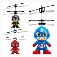 Wholesale Rc Ball - Cartoon Hero Air RC Flying Ball 3 Styles Batman Spiderman Flying Ball Captain America Hero Kids Teenagers Flying Toys