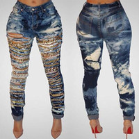 Wholesale Womens Plus Denim - Cave chain hole ripped jeans for women washed skinny jeans woman new denim plus size high waist destroyed ladies jeans womens feet pants