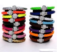Wholesale Shamballa Hearts Bracelet - Hot Sale Various colors PU Leather Bracelet Shamballa CZ Disco Crystal Bracelet Fashion Magnetic Clasp Bracelet Wristband Jewelry
