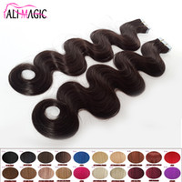 Wholesale Remy Human Braiding Hair - DIY Skin Weft Halo Tape Hair Extensions 100g Human Braiding Hair 18 20 22 24inch Brazilian Body Wave Remy Free Shipping