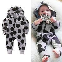 Wholesale Black Hooded Bodysuit - Baby Boys Girl Boutique Clothes Black Dot Romper Next Kids Costume Overall Grey Infant Bodysuit Toddler Legging Warmer Jumpsuit Hooded