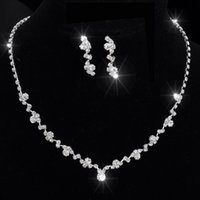 Wholesale Tennis Earrings Necklace - Silver Tone Crystal Tennis Choker Necklace Set Earrings Factory Price Wedding Bridal Bridesmaid African Jewelry Sets 14F3AF067