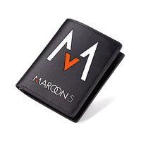 carteras de alto diseño al por mayor-Monedero Maroon 5 Long Leather Purse Black PU Short Purse Design Lujo High Quality Men Carteira