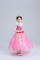Wholesale Chinese Dress Cosplay - Belle Fancy Princess Dress Girl Children Clothing Dress Princess Baby Clothes Flare Sleeve Dress Cosplay Costume Kids Clothing