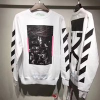 Wholesale Loose Winter - Off-White 2017 Winter Sweatshirt CARAVAGGIO Printed Crew Neck Pullover Hood Long Sleeve Oversized Cotton Hoodies Hip Hop Tops PXG0746