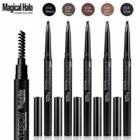 Wholesale Cosmetic Pen Dark Brown - Magical Halo 1PC Professional Automatic Eyebrow Pencil Liner Eye Brow Pen with Brush Cosmetic Makeup Tools