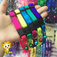 Wholesale Wholesale Rainbow Dog Collars - Dog Collars Colorful Rainbow Bells Collar Cat Dogs Necklet High Quality Color Button Personality Creative Fashion Pet Supplies 1sy