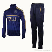 Wholesale Shinny Top - top 2017 2018 Survetement football Italy tracksuit italia training kits Soccer Chandal 17 18 italian training shinny tight pant sweater suit